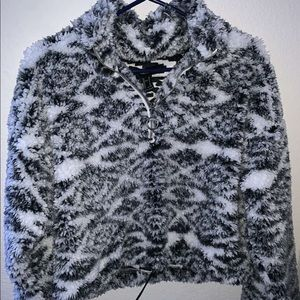 cropped quarter zip sweater